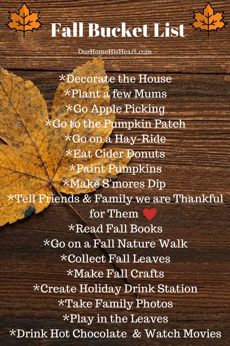 Fall Bucket List 2017